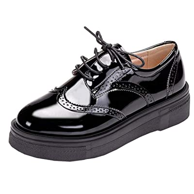 DADAWEN Women's Platform Lace-Up Comfort Wingtips Square Toe Oxford Shoes Brogues | Oxfords