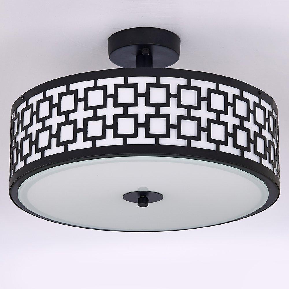 POPILION 13 Inches Modern Style Tempered Glass Ceiling Light Flush Mount Ceiling Light For Kitchen Living Room Bedroom
