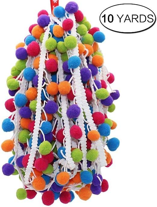 Anjing Cinta con Flecos de 5 Yardas y Pompones de arco/íris para Coser o Hacer Manualidades