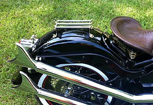 Custom Mr Luckys Universal Fit 3-Rail Chrome Mini Luggage Rack with brass wingnuts; HD Retro