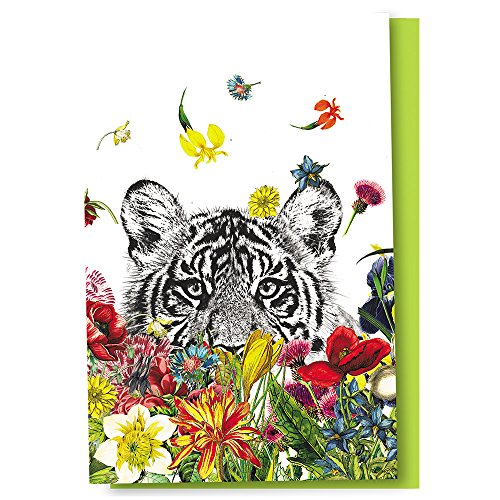 "Tree-Free Greetings Eco Notes 12 Count White Tiger Flowers Boxed All Occasion Notecard Set, 4"" x 6"" (FS56930)"