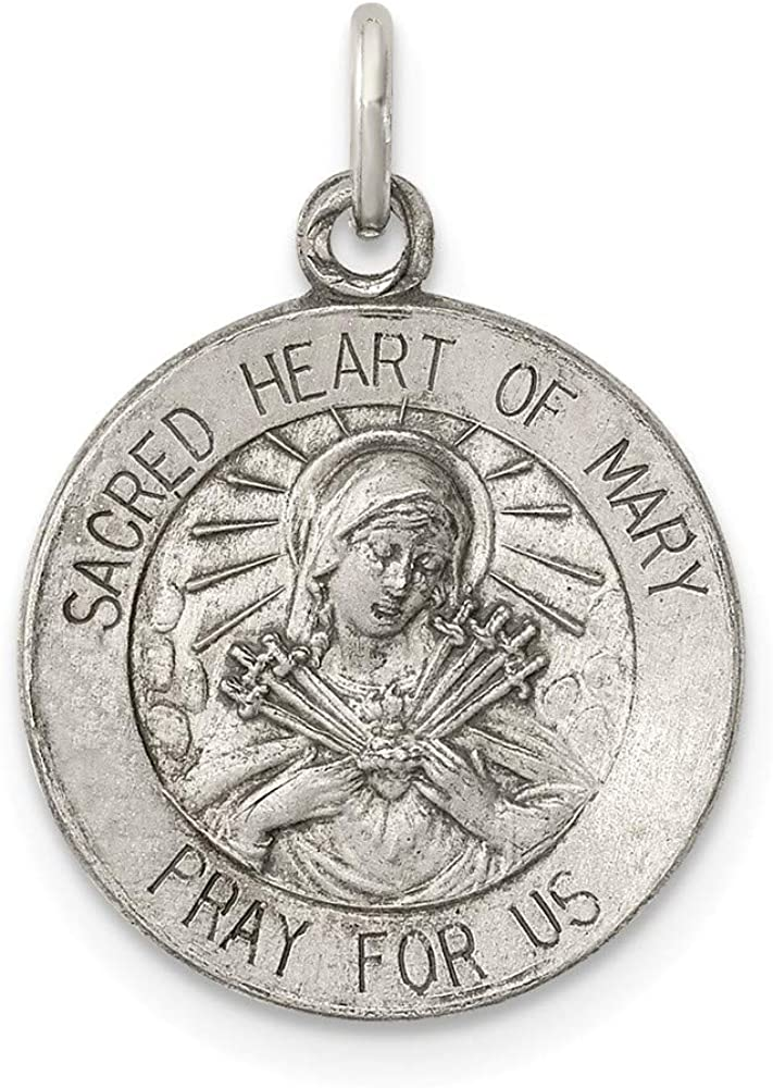 Solid 925 Sterling Silver Vintage Antiqued Sacred Heart of Mary Pendant Charm Medal 22mm x 15mm