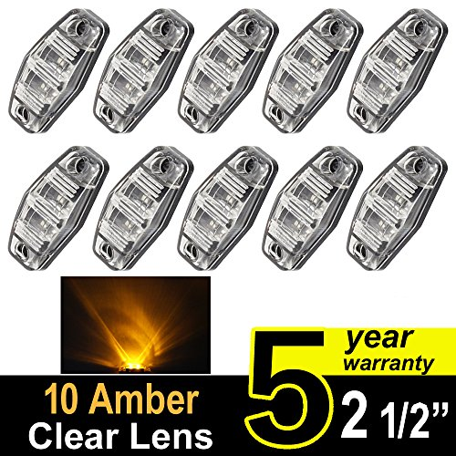 10 pcs TMH 2.5 10 pcs Clear Lens Amber Light Super Flux Side Led Marker, Trailer marker lights, Led marker lights for trucks, RV Cab Marker light Red, Surface Mount LED