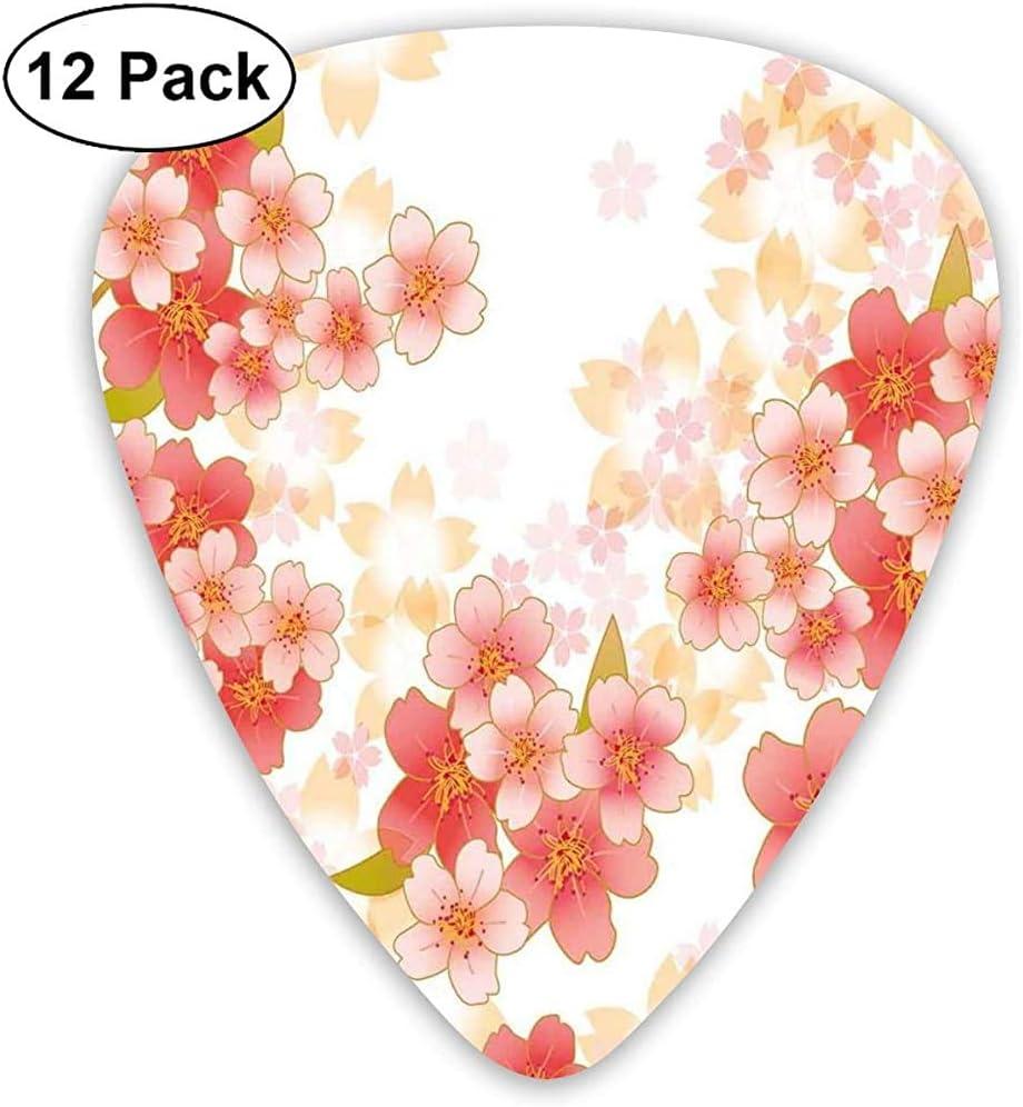 Púas de guitarra, paquete de 12, flores de cerezo japonesas de Sakura en ilustración de colores vibrantes