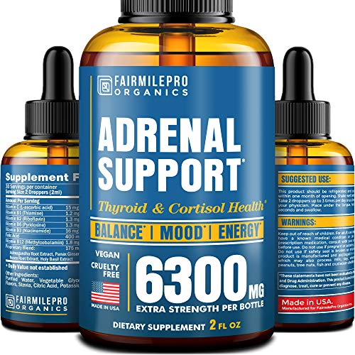 Adrenal Support - Adrenal Cortex & Cortisol Manager - Thyroid Support & Adrenal Fatigue Supplement - Made in USA - Cortisol Support with Ashwagandha & Rhodiola Rosea - Vegan, Non-GMO - 2 Fl Oz