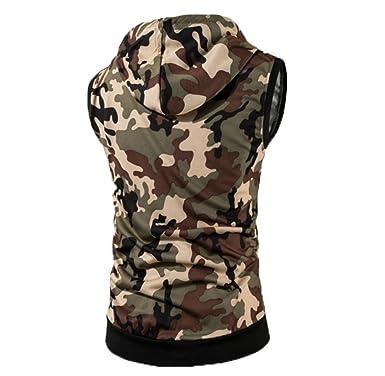 1e5a11f71997 Hellomiko Sommer Camouflage ärmellose Kapuze Weste Herren Casual Weste  Weste Schlanke Modelle  Amazon.de  Bekleidung