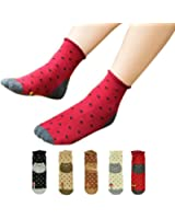 Sankuwen Womens Dot Animals Cat Footprints Floor Socks