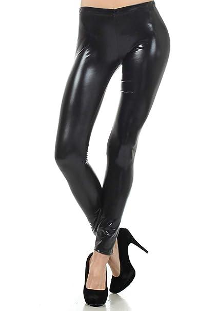 696d6a7b228276 MPitude Women's Shiny Faux Leather Leggings Lycra Leggings Shiny Leggings  Fancy Leggings Wet Look Liquid Metallic