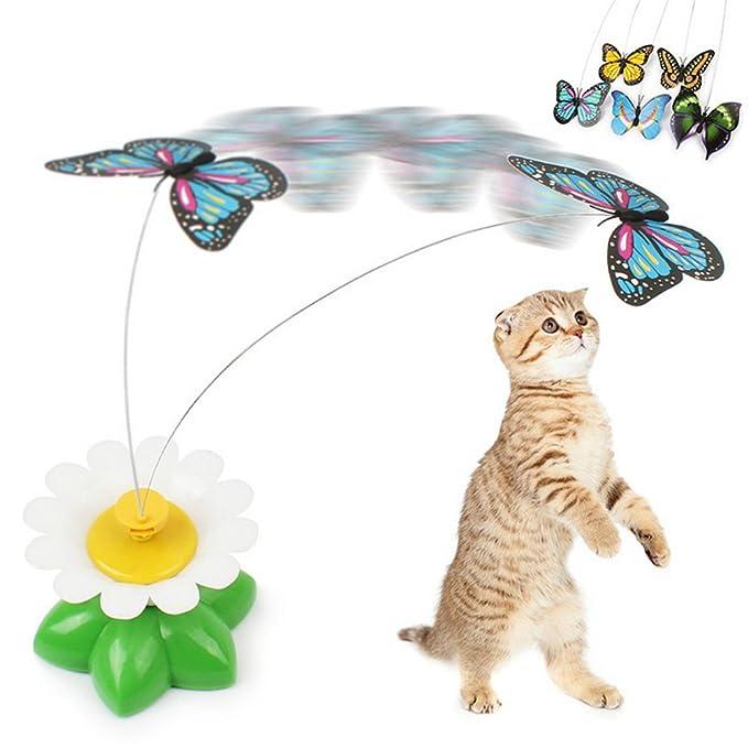 Amazon.es: UEETEK Juguete interactivo del juguete del gato Juguete coloreado eléctrico de la mariposa para los gatos Kitten, baterías no incluidas (color al ...