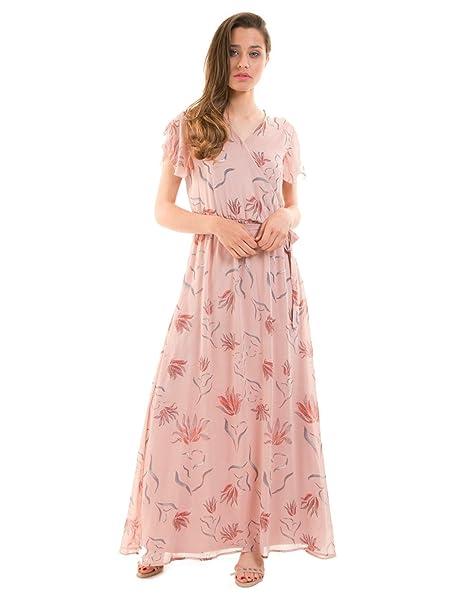 Vila Vestido Largo Rosa de Flores Visaffa Clothes (Rosa - 42)