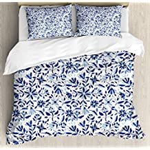 Indigo Duvet Cover Set by Ambesonne, Asian Modern Minimalist Spring Time Flowers Swirls Leaves Image, 3 Piece Bedding Set with Pillow Shams, Queen / Full, Light Blue Navy Blue and White