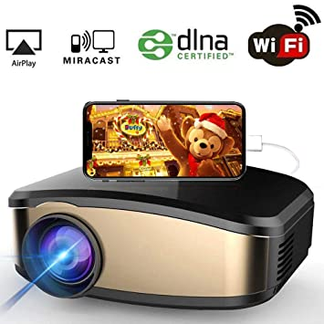 Proyector de video WiFi, Proyector de 1200 lúmenes Full HD 1080P ...