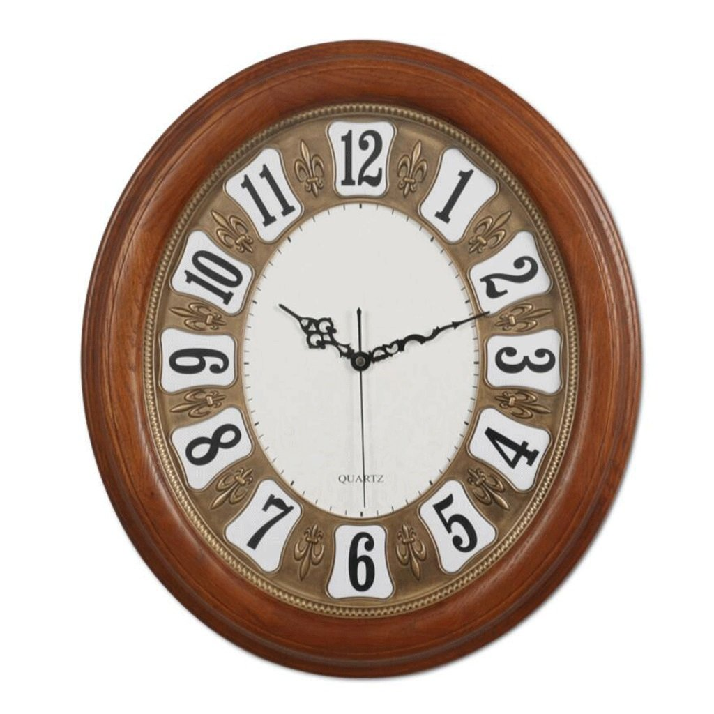 GAOLILI ソリッドウッドオーバルウォールクロックリビングルーム時計ベッドルームミュートクロック B07C3QKK4Q