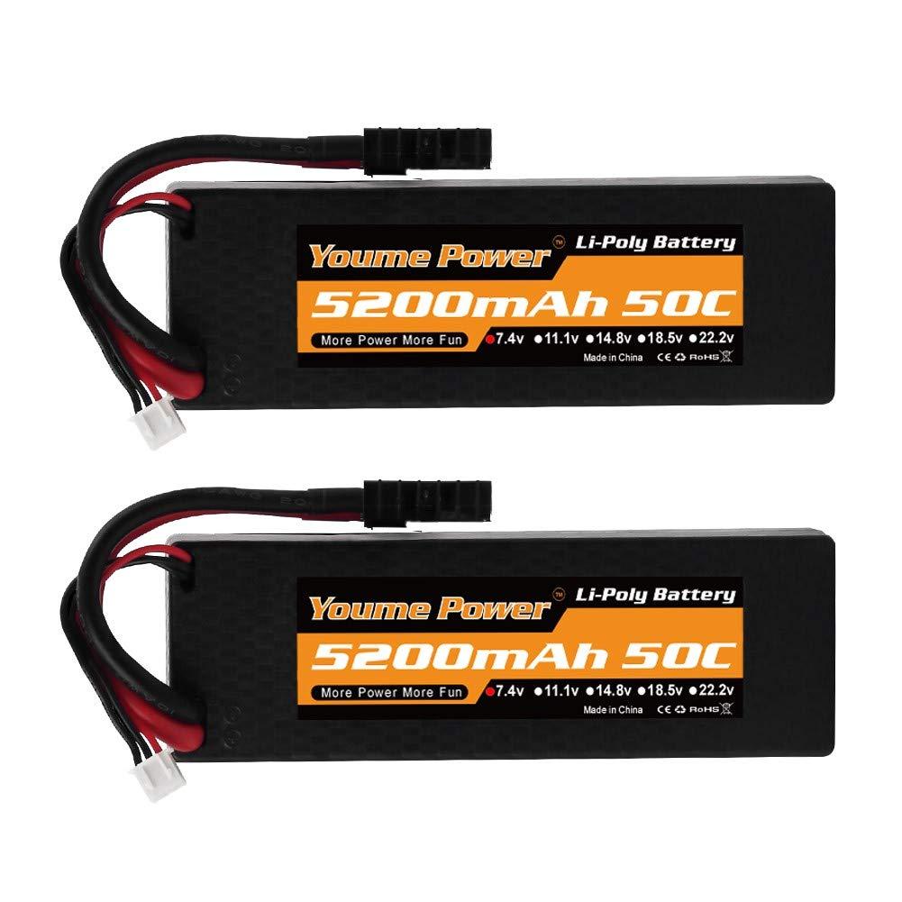 7.4V RC Lipo Batterie 5200mAh 50C Custodia rigida con Traxxas Connettore TRX per Losi Traxxas Slash Team Associated RC Auto//Veicolo//Camion//Buggy 2s Lipo Battery 2 Pack