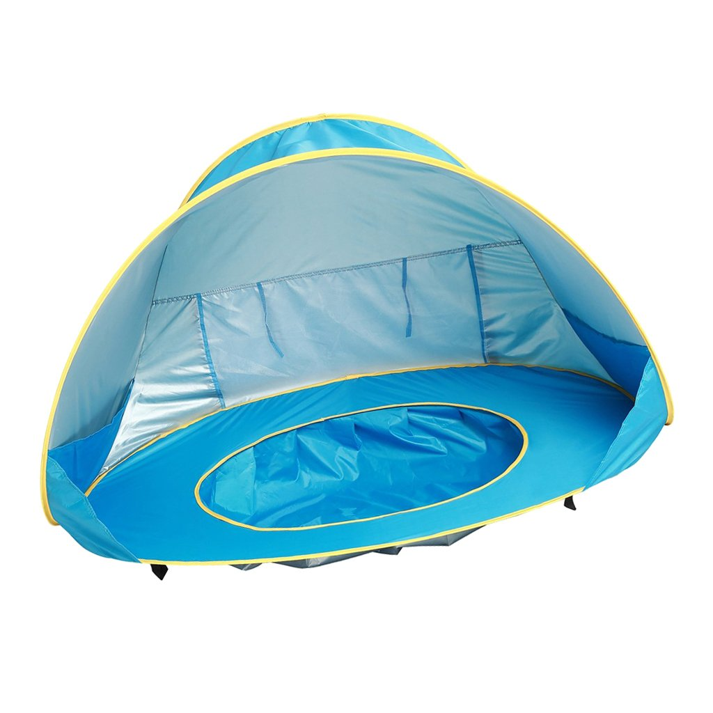 Baoblaze Pop-Up Baby Beach Tent with Pool , Sun Shelter with UV Protection Canopy, Portable Inside or Outside Kids Travel Tent Water Toy Blue