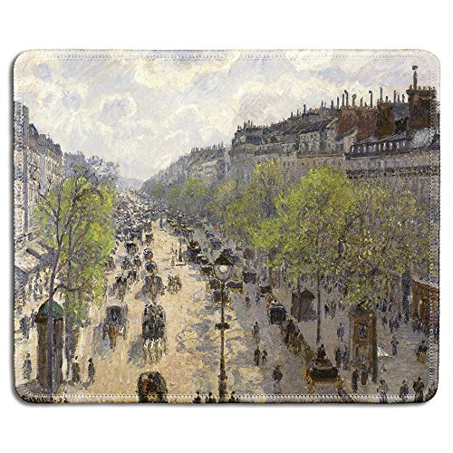 dealzEpic - Art Mouse Pad - Natural Rubber Mousepad with Famous Fine Art Painting of Boulevard Montmartre, Spring by Camille Pissarro - Stitched Edges - 9.5x7.9 inches Camille Spring