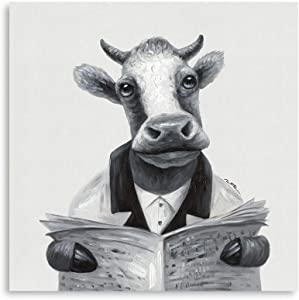 "B BLINGBLING Cow Canvas Wall Art Decor: Cow Artwork Wall Decor Reading Newspaper Print for Living Room Office Framed Ready to Hang (24""x24""x1 Panel)"