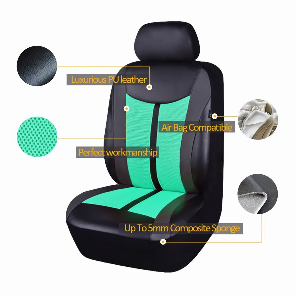 Ltd Flying Banner Purple PU Leather and Mesh Breathable Universal Fit 2 Front Car Seat Covers with Airbag Compatible Ningbo Qiyang International Trade Co