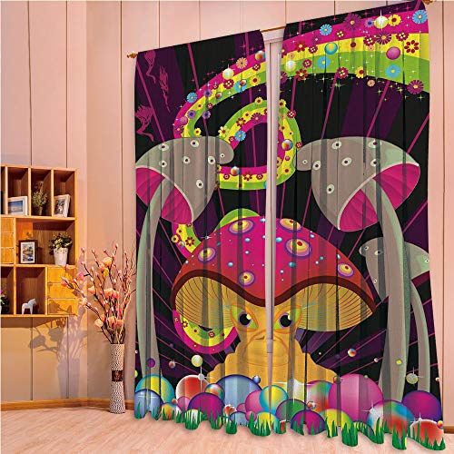 ZHICASSIESOPHIER Darkening Thermal Insulated Short Curtain Adjustable Tie Up Shade Panel for Small Window,Rod Pocket,Composition with Fantastic Mushroom Floral Rainbow 108Wx90L Inch