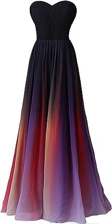 Dearta Womens A-Line One-Shoulder Floor-Length Chiffon Evening Dresses