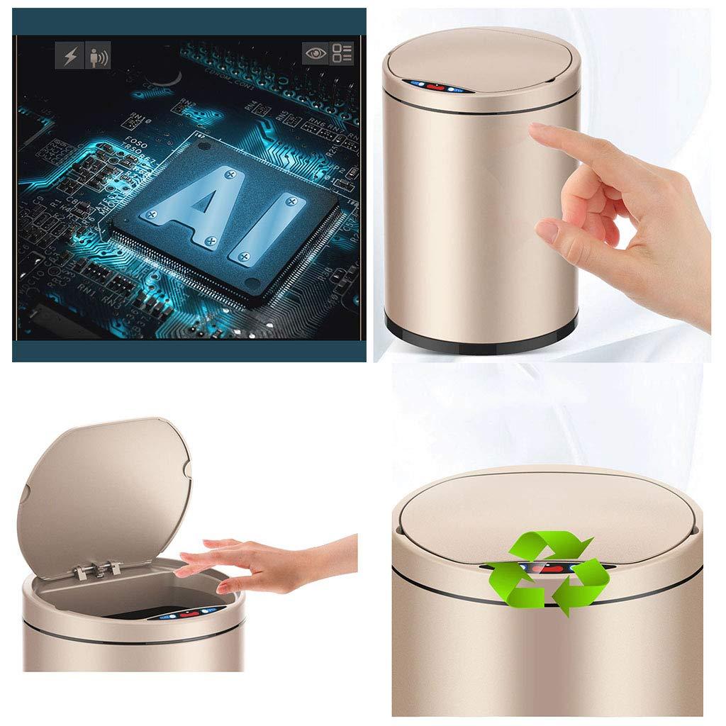 Aufbewahren & Ordnen Aufbewahren & Ordnen LYQ Kleine automatische Mülleimer 9L Touchless Fingerabdruck-Nachweis intelligente Induktion Müllcontainer mit inneren Eimer Umwälzpumpe ruhigen Deckel zu schließen Farbe : Gold