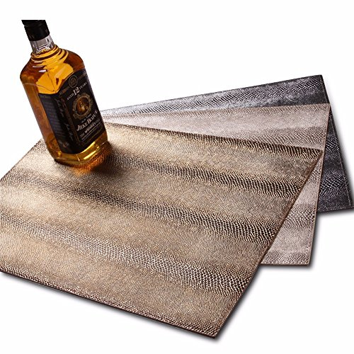 Champagne Snake (Club Leather Table Dining Mat Waterproof Insulated Western-Style Mat Snake Skin Three-Color Mat Non-Slip,Champagne Gold,33×46Cm)