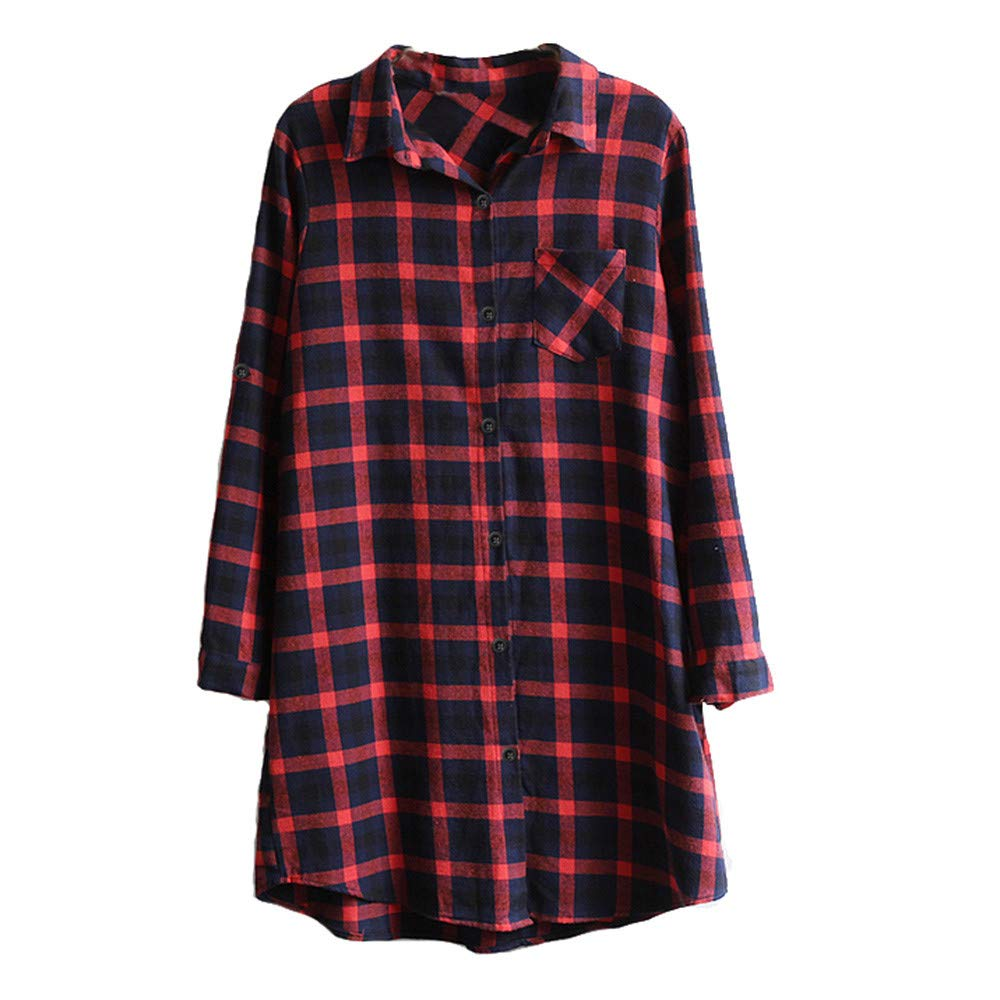 Dainzuy Ladies Sexy Casual Tops,Women Long Sleeve Plaid With buttons T-Shirt Blouse Tops