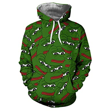 SISEIRES Unisex 3D Pepe The Frog Print Harajuku Hip Hop Hoodies Sweatshirts as Show S