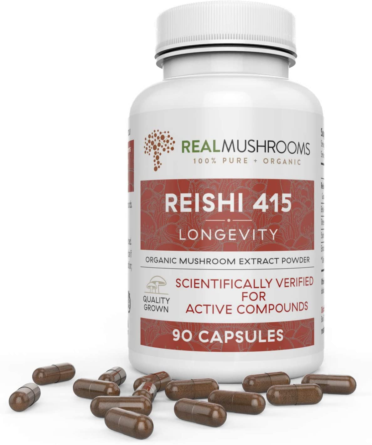 Organic Reishi Mushroom Extract by Real Mushrooms – 90 Capsules – Ganoderma Lucidum Ling Zhi – Immune Booster
