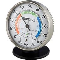 TFA Dostmann Klimatest - Higrómetro Termómetro análogo (antracita con soporte)