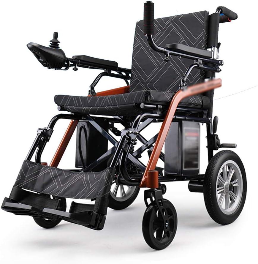 XINGZHE Silla de ruedas eléctrica, aleación de magnesio Silla de transporte for adultos plegable ultraportátil Batería de litio de motor dual 6AH, reposabrazos abatible negro, asiento ancho de 17 pulg