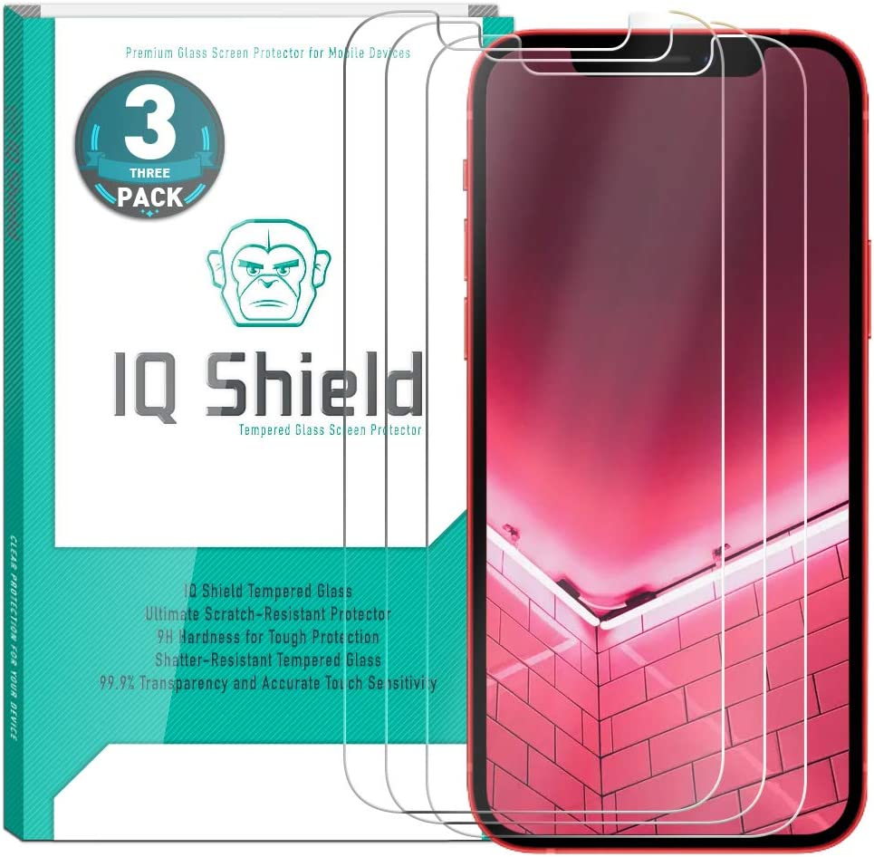 IQ Shield Glass Screen Protector Compatible with Apple iPhone 12 Pro Max (6.7 inch)(3-Pack) Clear Tempered Ballistic Glass HD and Transparent Shatter-Proof Shield, 99% Touch Accuracy