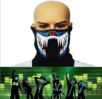 WSK Máscara de luz LED Máscara de luz activada por Sonido - Máscara de Moto,