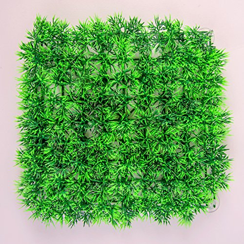 SLSON Aquarium Artificial Grass Lawn Ornament Landscape Plastic Green Plants for Saltwater and Freshwater Fish Tank Decorations with 8 Pcs Suction Cups,9 inch Square