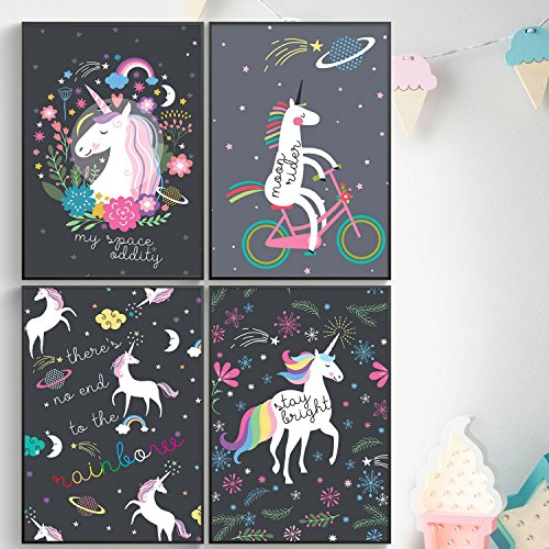Childrens Art Posters - Pillow & Toast Galaxy Unicorns Posters FOUR Set for Girls Bedroom: Unicorns Wall Art 11 17'' – Hanging Stripes Included, Toxic-free and Acid-Free pH Neutral Paper.