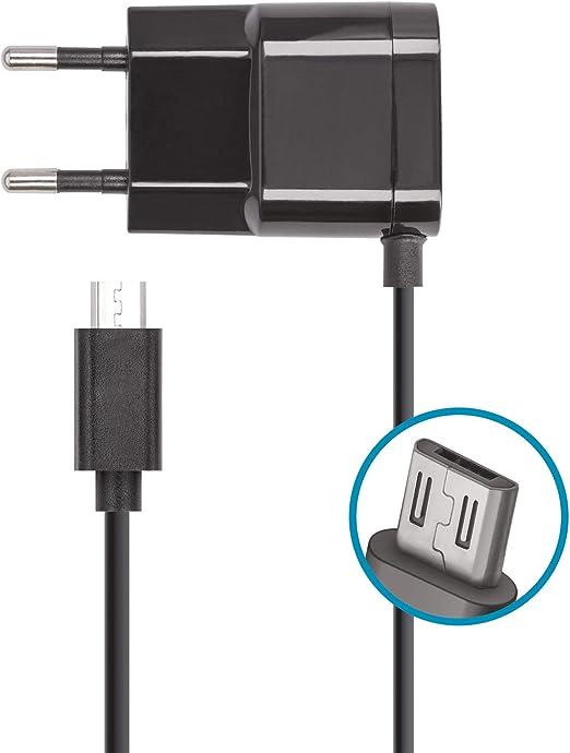 Forever Cargador USB con fuente de alimentación y cable de carga micro USB de 1 m de largo, para smartphone Android, Samsung Galaxy, Huawei, Sony, UVM, Cargador de teléfono móvil con enchufe,