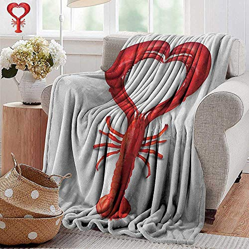 XavieraDoherty Printed Blanket,Sea Animals,A Boiled Lobster Shaped as A Heart Symbol Seafood Love Valentines Restaurant Menu Art, Red,300GSM,Super Soft and Warm,Durable Throw Blanket 30
