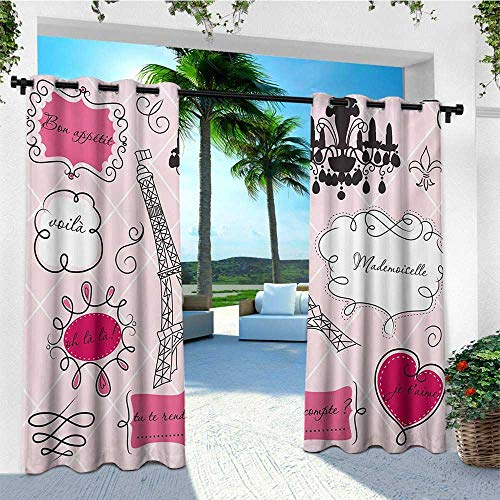 Teen Room, Outdoor Curtain Extra Wide, Doodle Frames in French Style Rococo Baroque Lantern Mademoiselle Print, for Patio W120 x L96 Inch Hot Pink and Black (Wall Mademoiselle Light One)