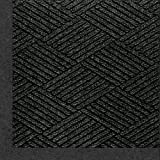 M+A Matting 2297 Waterhog Eco Premier Fashion PET Polyester Fiber Indoor/Outdoor Floor Mat, SBR Rubber Backing, 5' Length x 3' Width, 3/8'' Thick, Black Smoke