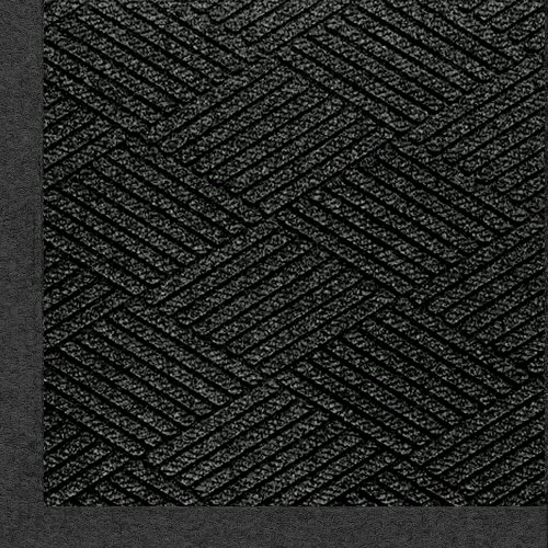 M+A Matting 2297 Waterhog Eco Premier Fashion PET Polyester Fiber Indoor/Outdoor Floor Mat, SBR Rubber Backing, 5' Length x 3' Width, 3/8'' Thick, Black Smoke by M+A Matting (Image #1)