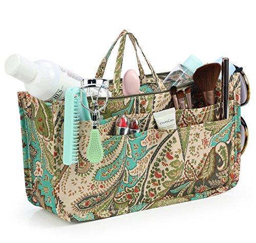 Cosmetic Bag for Women Cute Printing 14 Pockets Expandable Makeup Organizer Purse with Handles (Peacock) - Gathered Tote Bag