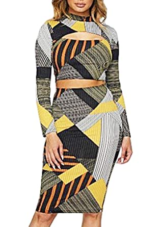 32f0f63502d ... Sexy Women Geometric Striped Print Two Piece Set Hollow Out Turtleneck Long  Sleeve Crop Top High Waist Skirt Outfits at Amazon Women's Clothing store: