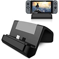 SubClap Nintendo Switch Charger Stand, Portable Type-C Charging Dock Station Cradle for Nintendo Switch Wireless Controller (Black-1)
