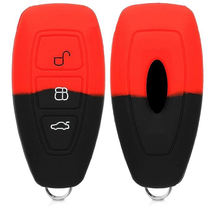 de Carcasa Protectora kwmobile Funda para Llave Keyless Go de 3 Botones para Coche Ford Suave Silicona - Case de Mando de Auto con dise/ño de Rally