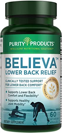 Believa™ Lower Back Relief by Purity Products - Clinically Studied Curcumin C3 Complex, White Willow Bark Extract, Boswellin Boswellia Serrata, Vitamin B12, Black Pepper Extract - 60 Veggie Capsules