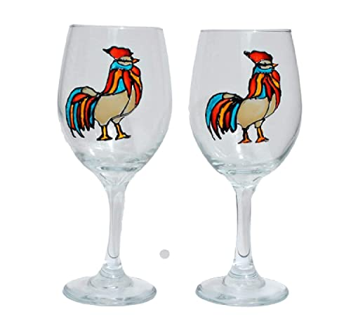 Amazon Com Rooster Hand Painted Stemmed Bird Wine Glasses Set Of 2 Chicken Home Decor Handmade
