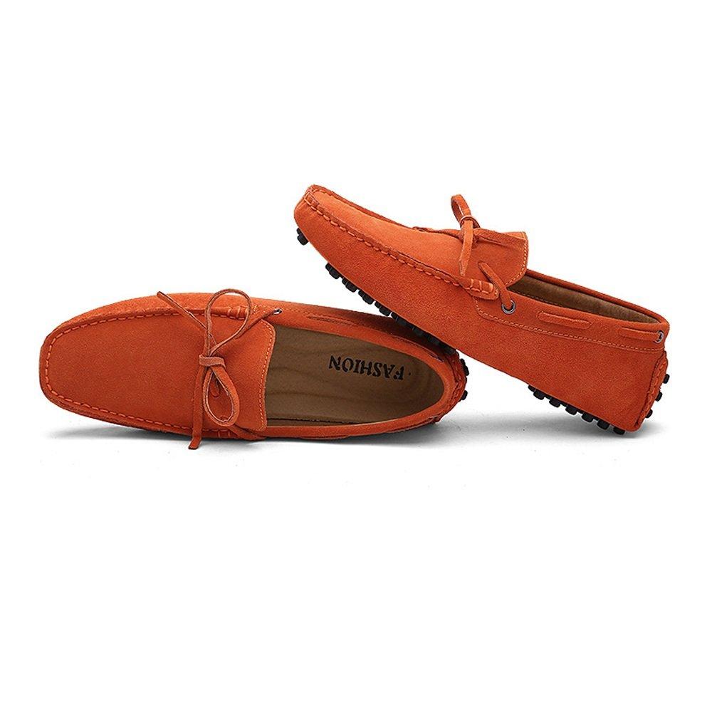 Xiazhi schuhe, Männer Fahren Penny Loafers Echtes (Farbe Leder Boot Leichte Mokassins, (Farbe Echtes : Braun, Größe : 48 EU) Orange d2e5ba