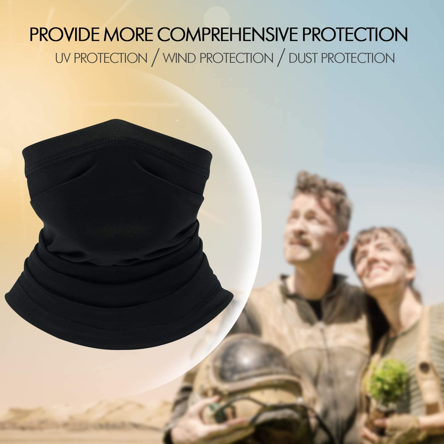 Set of 2 Black and Sky Blue Your Choice Half Face Mask for Sun Protection Motorcycle Fishing Cooling Neck Gaiter for Men and Women