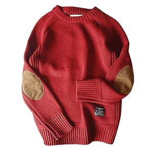 トップス セーター メンズ ニット クルーネックカジュアル ストリート アメカジ ファッション 無地 長袖 防寒 春秋冬 通勤 通学 大きいサイズ ( レッド Large )