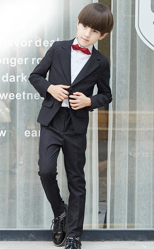 SK Studio Boys' 5 Pieces Wedding Solid Color Dress Formal Suits Black by SK Studio (Image #2)